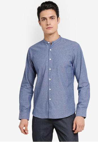 ZALORA blue Slim Fit Mandarin Collar Chambray Long Sleeve Shirt 98992AA93FC5ADGS_1