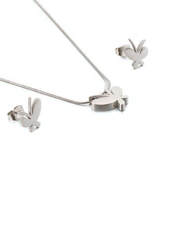 Glamorousky 銀色 簡約時尚蝴蝶316L鋼項鏈和耳釘套裝 4693FACD805A62GS_1