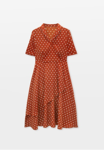 Pomelo red Polka Dot Print Surplice Dress - Coral Red C1CE4AAE73A627GS_1