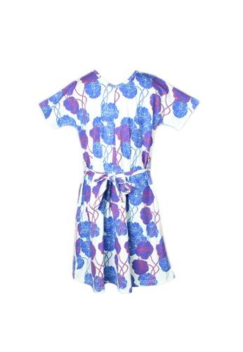 Mini Moley blue Neon Peony Print Flare Dress 8CDA0KA77C0681GS_1