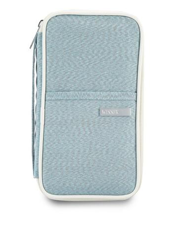 Bagstationz blue Hand Grab Travel Zip-Up Passport Wallet BA607AC89LQOMY_1