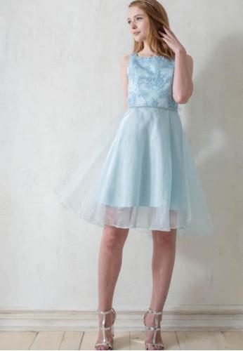 優雅名媛一字領小花蕾絲拼接珍珠紗前短後長洋裝, 服飾, 派對esprit女裝洋裝