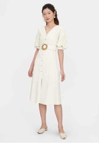 Pomelo beige Woven Buckle Puff Sleeve Dress - Cream EAA9DAA70DA417GS_1