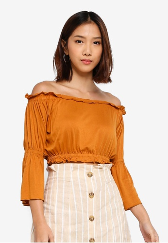 Cotton On brown Sofia Off The Shoulder Ruffle Top 47A2BAA6549A2BGS_1