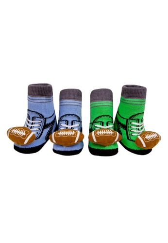 Waddle & Friends brown and green and blue Rattle socks - FOOTBALL 8BA26KA078B8F8GS_1