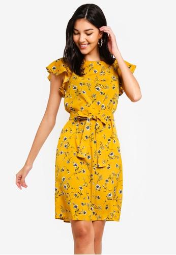 ZALORA yellow and multi Ruffle Sleeves Shift Dress 5985DAA81456C4GS_1