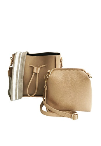 LIVLOLA brown and beige Minimal Bucket Crossbody Bag in beige 06A8FAC22B61A6GS_1