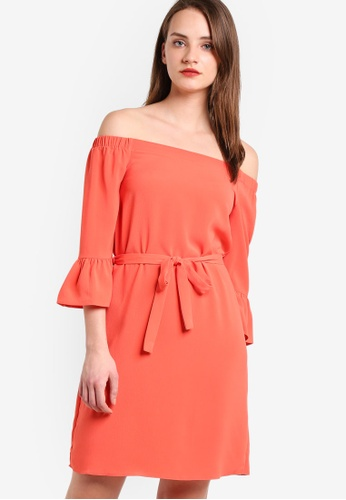 Dorothy Perkins orange Coral 3/4 Sleeve Bardot Dress DO816AA22GXDMY_1