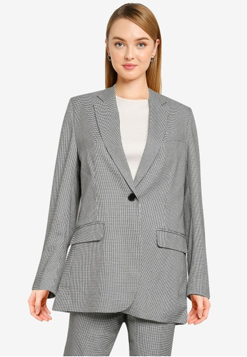 French Connection black Houndstooth Suiting Boyfriend Jacket B2160AADA8744DGS_1