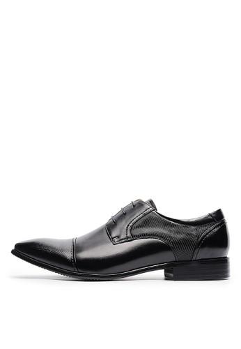 頭層牛皮。微波浪紋。復刻方頭皮鞋-04683-黑色esprit門市, 鞋, 皮鞋