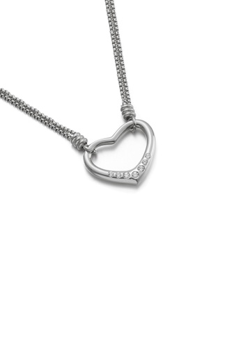 Glamorousky white Fashion and Simple Hollow Heart-shaped 316L Stainless Steel Pendant with Cubic Zirconia and Necklace 6FCEBACE354D28GS_1