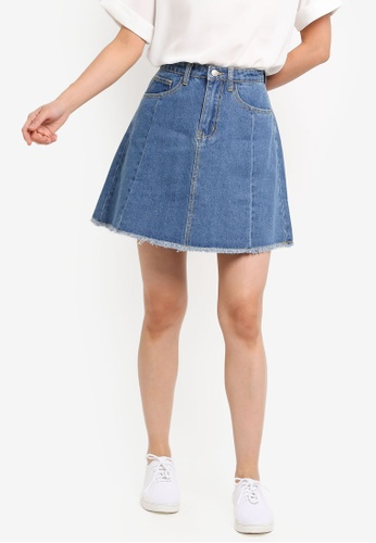 ZALORA BASICS blue Basic Denim Skirt D4B9EAA80160E0GS_1