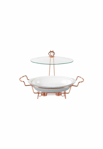 Slique white Oval Casserole Serving Dish W/ 2 Burner 1800ml FFA1AHLAD90862GS_1