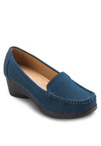 沖孔esprit服飾高跟莫卡辛鞋, 女鞋, 厚底高跟鞋