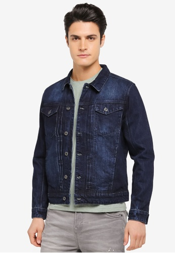 CR7 blue Slim Cut Denim Trucker Jacket CR532AA0SZ8ZMY_1