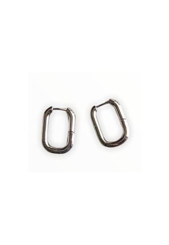 CINDERTOELLA silver Cindertoella Nelly Hook Earrings Rectangle Minimal Statement Silver Color 91D2AAC6180191GS_1
