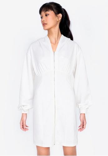 ZALORA BASICS white Hooded Bodycon Dress C2607AA9AA78EBGS_1