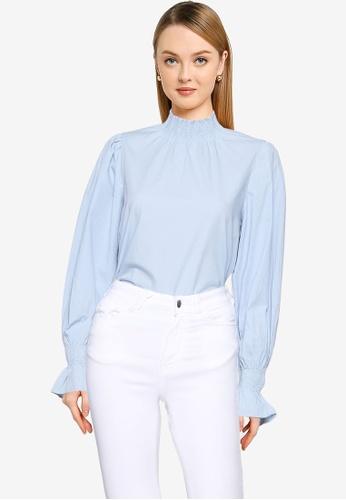 Vero Moda blue French Long Sleeve Top DE230AA3961D83GS_1