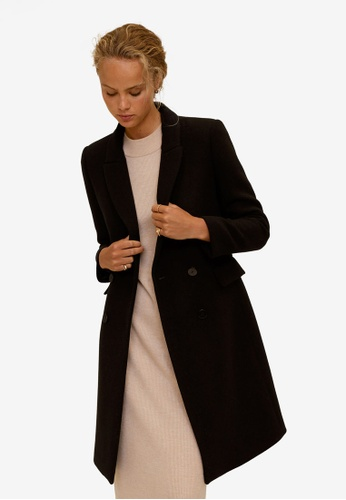 Mango black Double-Breasted Wool Coat D3CD8AAD1845F1GS_1