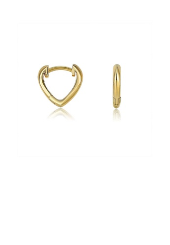 Glamorousky silver 925 Sterling Silver Plated Gold Simple Classic Hollow Heart-shaped Stud Earrings 3B406ACE1FEC78GS_1
