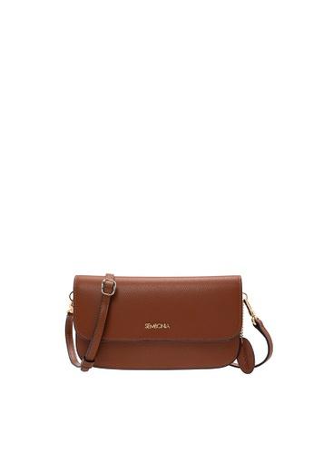 SEMBONIA brown Medium Flap Wristlet Clutch 6BCDFACFD87651GS_1