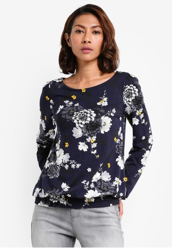 Dorothy Perkins navy Floral Smock Hem Top 61090AAA8D8321GS_1
