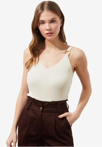 Trendyol beige Ring Detail Cami Top 94160AA9BF8E07GS_1