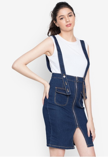 Ninety Nine Point Nine Boutiq blue Classic Denim Suspender Skirt D4B7CAA29F26A4GS_1
