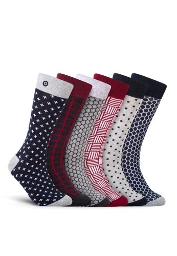 Sockdaily black and grey and red and blue Dare 6 Pack Crew Socks DB7B0AA870B8F0GS_1