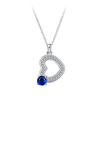 Glamorousky white Fashion Elegant Hollow Heart Pendant with Blue Austrian Element Crystal and Necklace 7AECEAC565214BGS_1