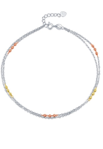 MaBelle silver 14K 585 Tricolor Gold Diamond Cut Tiny Beads Double Chain Anklet 1EBF3ACCC653EEGS_1