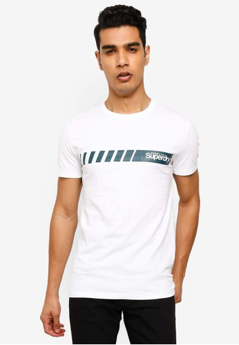 SUPERDRY white Core Logo Sport Stripe Tee 0E13CAABBD489BGS_1