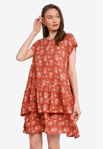 Compania Fantastica red and multi Leopard Print Loose Dress 6508DAA275CF85GS_1