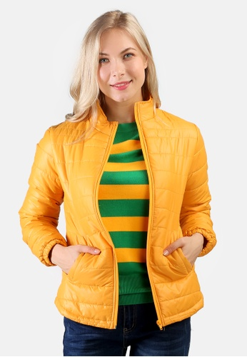 London Rag yellow Puffer Jacket With Zipper Closure C266DAA06AFCD2GS_1