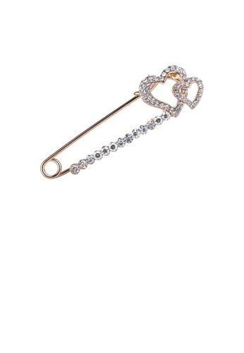 Glamorousky white Valentine Double Heart Brooch with White Austrian Element Crystal E049BAC2A9BE9BGS_1