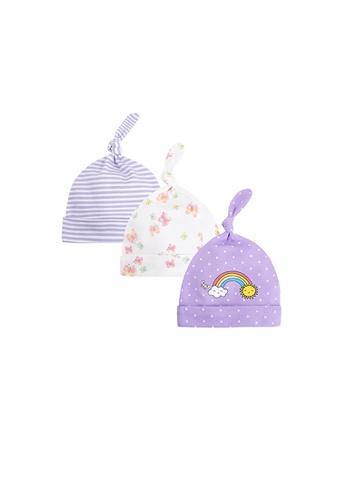 Little Kooma purple Baby Girl Hats 3 Piece Pack 0-6 Months - 0719 Rainbow & Butterfly 0EF24KCCB184B5GS_1