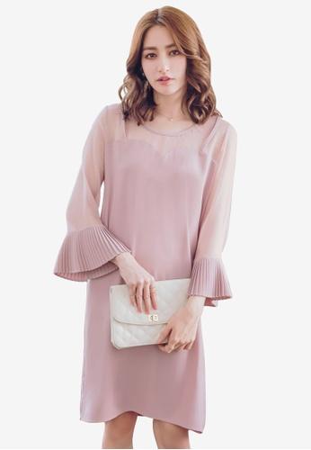YOCO pink Mesh Panel Shift Dress E0E4CAA067A336GS_1