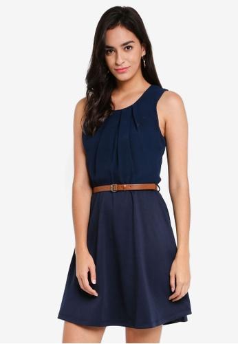 Vero Moda brown and navy Lucy Belt SL Short Dress 0329CAAB791D61GS_1