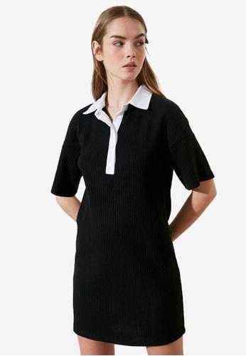 Trendyol black Contrast Tone Polo Dress 3EB63AA0A6D319GS_1