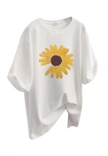 Twenty Eight Shoes white VANSA Fashionable Loose Print T-Shirt VCW-Ts5615 E6EAAAA574737EGS_1