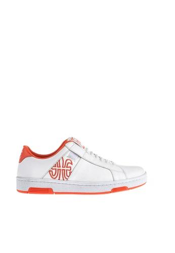 Royal Elastics white and orange Icon Z Leather Sneakers RO796SH2UYLZHK_1