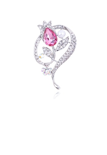 Glamorousky white Fashion and Elegant Geometric Flower Imitation Pearl Brooch with Pink Cubic Zirconia 37056AC1A39A28GS_1