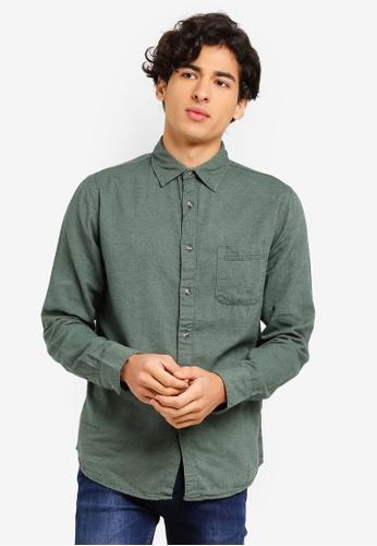 OVS 綠色 長袖襯衫 DA663AA39FE3AFGS_1