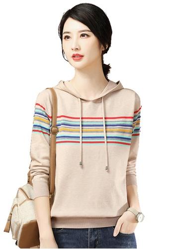 A-IN GIRLS beige Fashion Striped Hooded Sweater BDD7FAACBEA83BGS_1