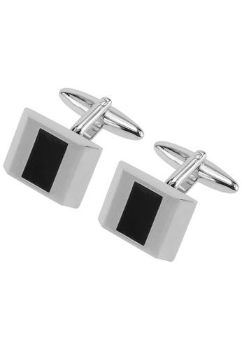 CUFF IT black Silver Transparent Black Enamel Cufflinks CU047AC42HXPHK_1