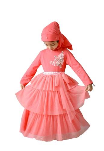 Pretty Girl Collection red and pink and orange Faradina Muslim Dress 5A075KA350FCE2GS_1