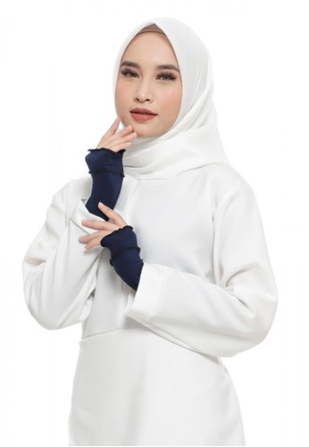 First Hijab navy Ruffle Handsock In Navy (Bundling Package) AF7F8AA3578E83GS_1