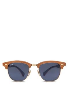 Clubmaster 木製太陽眼鏡