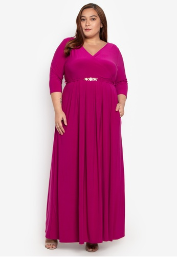 ed4ee2fc6cbb Love Curves Clothing By Jgo pink Plus Size Pleated Wrap Maxi Dress  7D7EDAA6275531GS_1