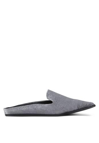 Something Borrowed 灰色 絲絨懶人平底鞋 2C99ESH10C09FCGS_1